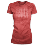 Stone Wash Barcode Design T-Shirt - Red